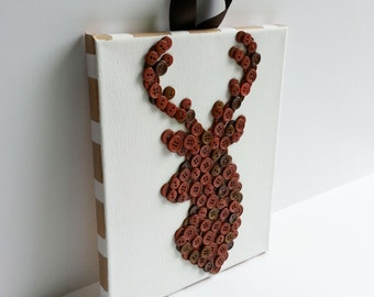 Button Art, Animal, Deer, Brown, Wrapped Canvas, 8x10