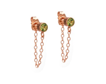 Stone and Chain Earrings Rose Gold Chain Earrings - Peridot - 18k Rose Gold Vermeil - 14k Gold Filled - Dangling Earrings - Stud and Chain