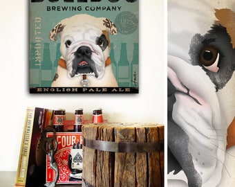 English Bulldog Brewing Company dog beer illustration art on gallery wrapped canvas by Stephen Fowler