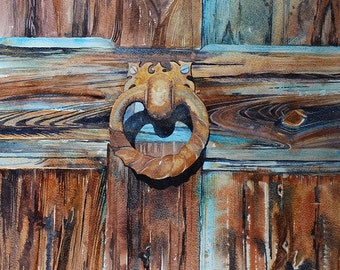 Original abstract watercolour, painting of weathered wood, shabby chic art, contemporary watercolor art, door, door knocker, rustic art,