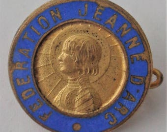 Rare old brooch St. Joan of Arc