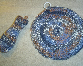 0073 Crochet Pattern Cast Iron Pot Holder 2PC Set