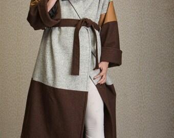 Long manteau de laine, manteau kimono surdimensionné, féminines hiver manteau combinaison laine et du cuir, manteau de pellicule, coat LENA tailles XS-XXL