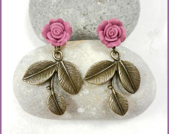 """Pink and brass earrings """"Aurora"""""""