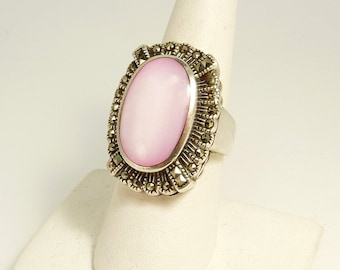 Art Deco Ring Sterling 925 Marcasite Pink Mother Of Pearl Statement Ring