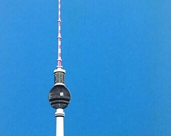 Berlin TV Tower handpulled screen print (blue)