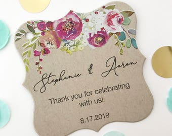 Penelope - Personalized Kraft Wedding/Engagement/Celebration/Event Hang Tags (FS-379-012-KR-WT-B)