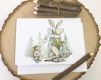 Hedgehog + Bunny snowshoeing Card