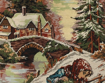 Vintage French Needlepoint Tapestry 'Girl Collecting Firewood in the Snow'. Hand Sewn (6002s)