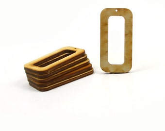 Unfinished Wood Rectangle - 2 inches tall by 1 inch wide and 1/8 inch thick with 1-1/2 x 1/2 cutout and 1 2mm hole wooden shape (RTRD28)