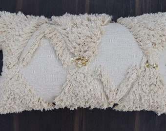 Ara Tassel Pillow with Sequins, Handira style cushion with texture