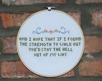 "Mountain Goats Cross Stitch Lyrics with Hoop- ""No Children"" from Tellahassee"
