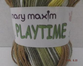 Mary Maxim Baby Playtime Yarn ~ Colour: Sandbox (variegated) ~ 100 grams/ 3.5 oz Ball ~ 328 Yards/300 meters ~ #3 Light