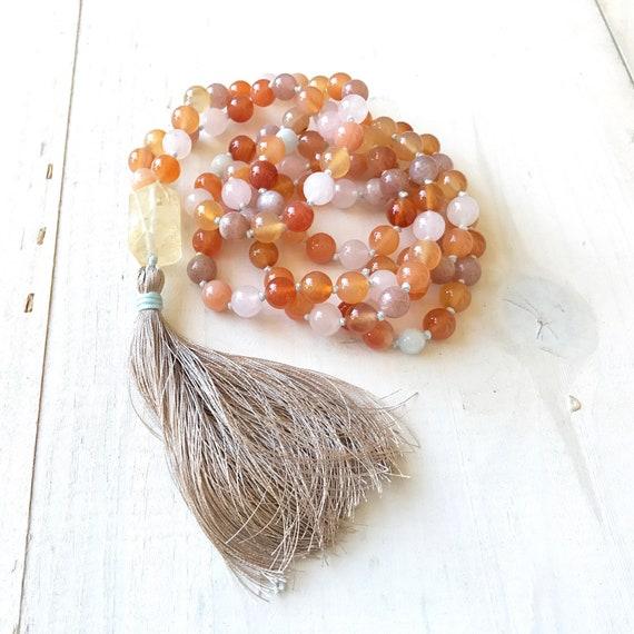 Mala Beads To Boost Energy, Citrine Mala Necklace, Aquamarine, Sunstone and Rose Quartz Mala, 108 Beads Hand Knotted Mala Necklace,
