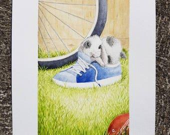 Watercolour Floppy Eared Bunny Easter Nursery Giclee Print