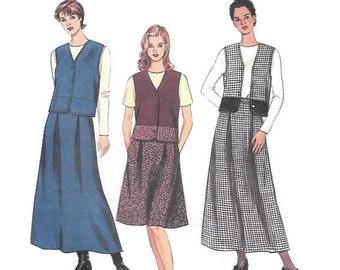 Easy Skirt and Vest Pattern, Maxi or Knee Length Skirt, Unlined Front Buttoned Vest, Top w/Long or Short Sleeves, McCalls 8485 Size 10-12-14