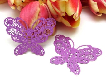 1 large filigreed 50 mm Purple - Butterfly print 50 * 38 mm