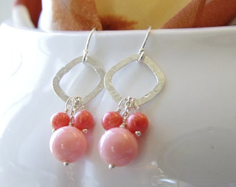 Coral Jewelry Dangle Earrings Pink Coral Peach Coral Earrings Sterling Silver Jewelry Coral Bridesmaid Earrings Peach Wedding Jewelry