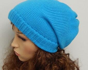 Knit women's slouch hat, handmade winter beanie, knitted slouchy beanie, baggy hat, knit head wear, gift idea, warm slouch beanie