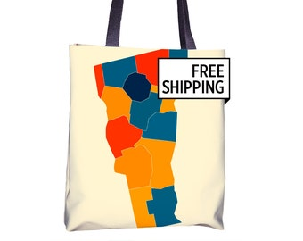Vermont Map Tote Bag - VT Map Tote Bag 15x15