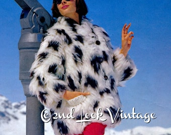 Vintage Knitting Pattern 1960s Coat Fun Fake Fur Jacket Mod Apres Ski Digital Download PDF