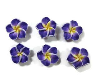 15 mm Polymer Clay Plumeria Flowers Set of 6 (SP13)