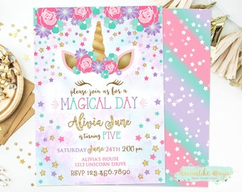 Unicorn Birthday Invite, Unicorn Face Birthday Invitation, Unicorn Invitation, Magical Invitation, Unicorn Party, Unicorn Party Invites