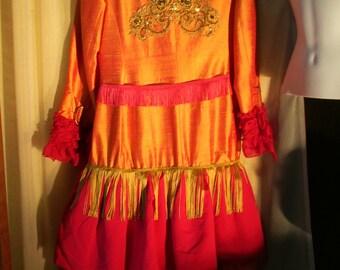 UPCYCLED Elegant Orange Iridescent Polonaise Style Bustle Coat with Fringe & Rhinestone Buttons