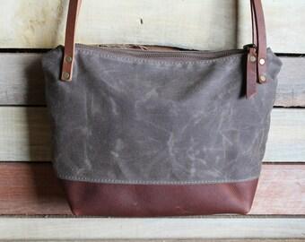 Waxed Canvas tote, Small zipper purse, crossbody zipper bag, waxed canvas purse, Zipper Top Handbag, free shipping, canvas bag