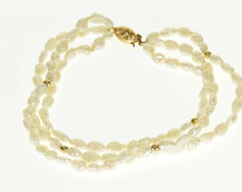14k Tiered Pearl Ball Beaded Stranded Layered Bracelet Gold 7.75""