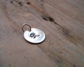 Add On Personalized Initial Silver Charm - Sterling Silver Monogram Pendant Custom Initial Disc Initial Pendant Small Letter Disc