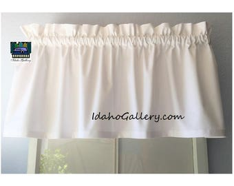 """White Curtain Free Shipping and or Tiers Kitchen Curtain Bedroom Valance Curtain 11"""", 14"""", 24"""", or 36"""" long x 42"""" wide Custom Possibilities"""
