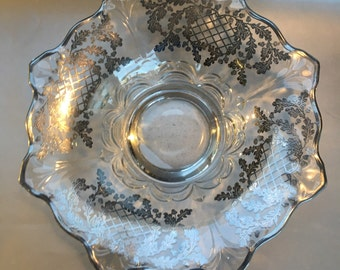 Large Antique Tiffin Glass Centerpiece Bowl Dish With Silver Overlay Art Deco
