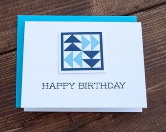 Happy Birthday. Quilt Letterpress Greeting Card