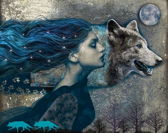 Werewolf, digital art, art, print, fairy tale, illustration, fantasy art, wolf