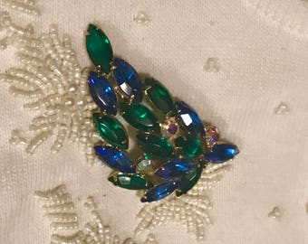 Vintage Blue and Green Juliana Brooch