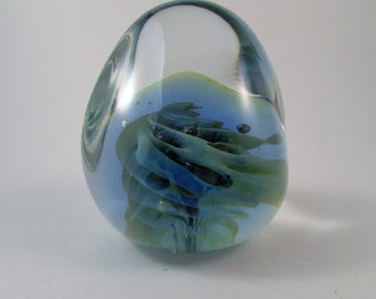Vintage Seegers and Fein Paperweight Studio Art Glass Paperweight Signed by Artists
