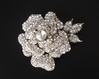 Bridal Rhinestone Flower Attached to an Alligator Clip - Ready to ship in 1 week