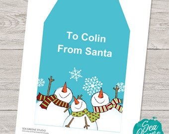 Extra large Christmas gift tag   Personalize and print snowman gift tag