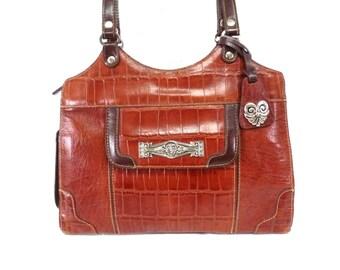 Vintage bag Brown Leather Brighton design MC Silver heart charm Satchel Shoulder Bag
