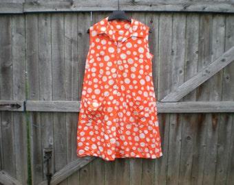 vintage orange polkadot house dress