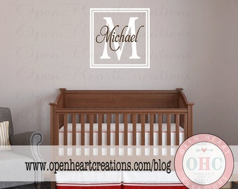 Double Square Initial and Name Monogram - Wall Decal for Girl or Boy Teen with Simple Modern Square Frame Border FN0568