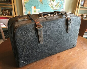 Handsome Antique Pebbled Cowhide Suitcase with Brass Fittings