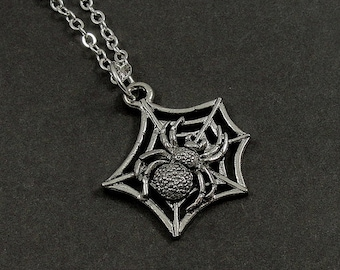 Spider Web Necklace, Silver Spider Web Charm on a Silver Cable Chain