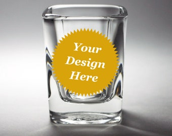 CUSTOM Square Shot Glass - Choose your etched design
