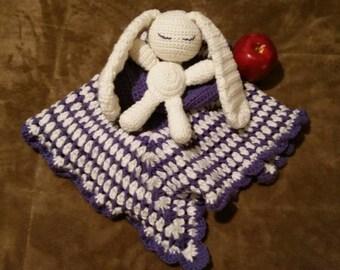 Sleepy Bunny Crochet Baby Snuggle Blanket