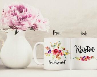 Bridal party gift, Bridesmaid gift, Personalized mug, watercolor flowers mug, floral bridal gift, floral mug, custom coffee mug