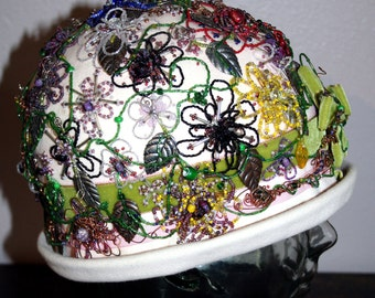 Hand Beaded Pink Frederick and Nelson of Seattle Flapper Hat