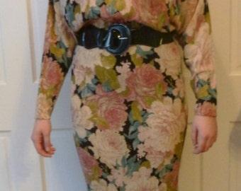 Vintage 1980's Ivory Pink Blue Green Floral Dolmen Sleeve High Neck Dress, by Phoebe, Size 11/12
