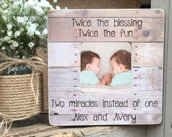 ON SALE Twins Picture Frame Twin Gift  Twin Girls Twin Boys Twin Babies Personalized Picture Frame Personalized Picture Frame